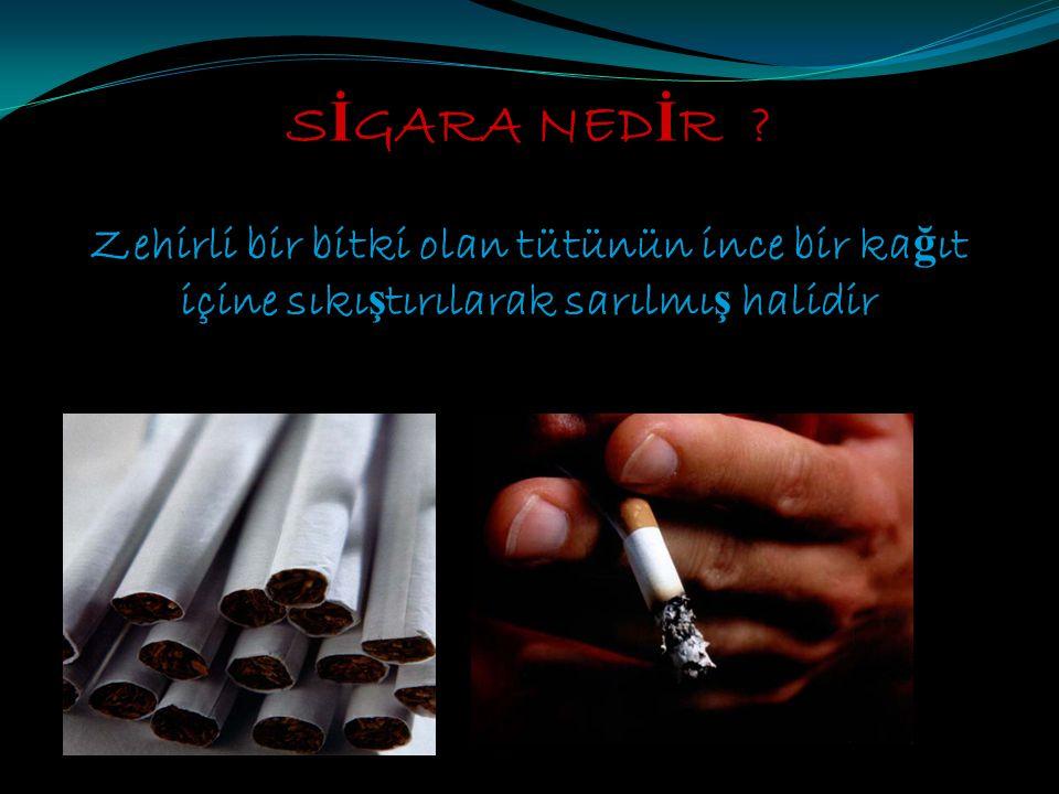 Sigara dumanında vücudumuz için zararlı 4.000'den fazla madde bulunur En tehlikeli maddeler N İ KOT İ N KARBONMONOKS İ T KATRAN