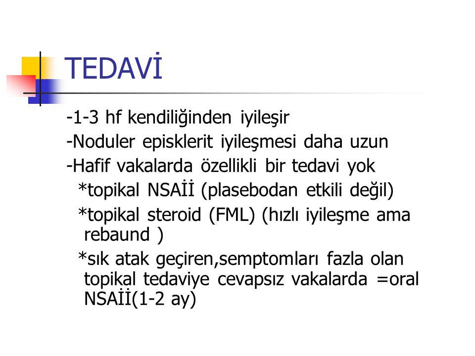 TEDAVİ -1-3 hf kendiliğinden iyileşir -Noduler episklerit iyileşmesi daha uzun -Hafif vakalarda özellikli bir tedavi yok *topikal NSAİİ (plasebodan et