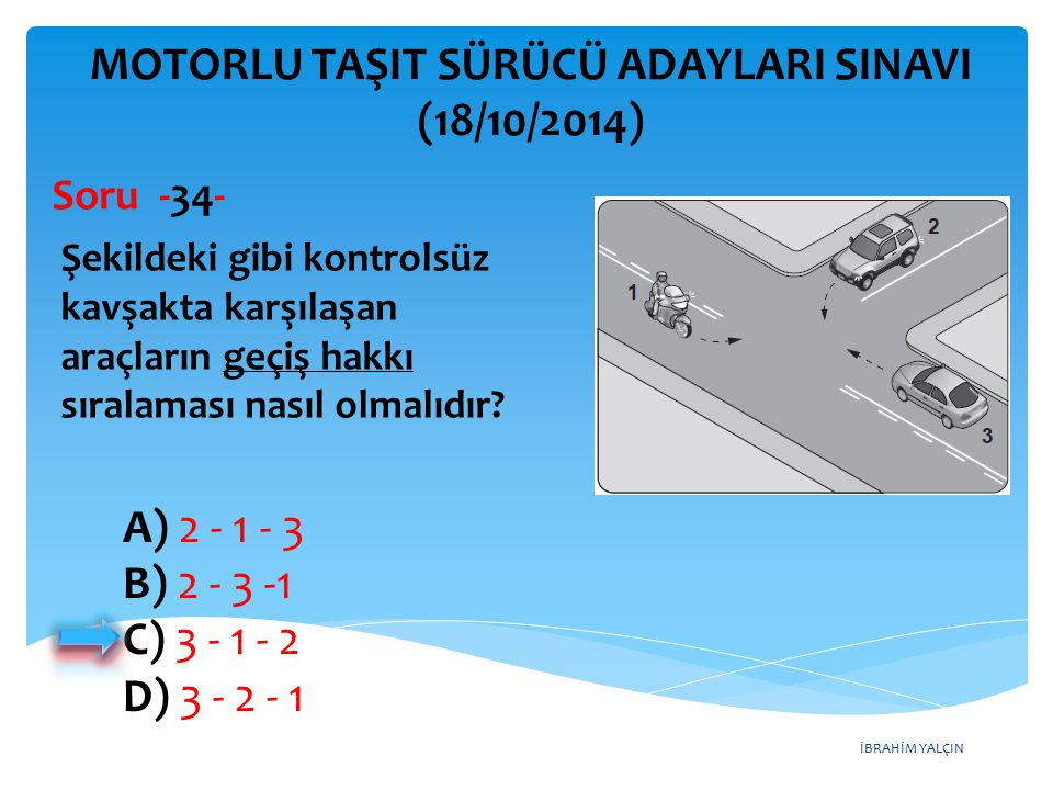 İBRAHİM YALÇIN A) 2 - 1 - 3 B) 2 - 3 -1 C) 3 - 1 - 2 D) 3 - 2 - 1 MOTORLU TAŞIT SÜRÜCÜ ADAYLARI SINAVI (18/10/2014) Şekildeki gibi kontrolsüz kavşakta karşılaşan araçların geçiş hakkı sıralaması nasıl olmalıdır.