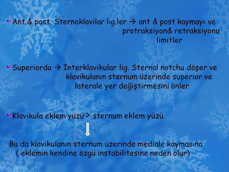 Ant.& post. Sternoklavilar lig.ler  ant & post kaymayı ve protraksiyon& retraksiyonu limitler Superiorda  İnterklavikular lig. Sternal notchu döşer