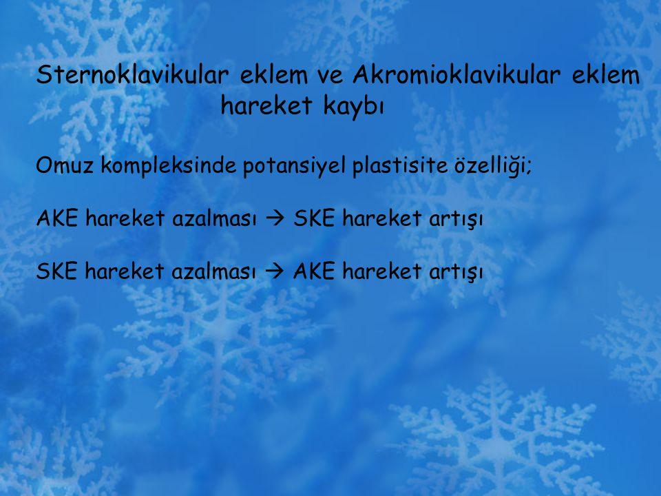 Sternoklavikular eklem ve Akromioklavikular eklem hareket kaybı Omuz kompleksinde potansiyel plastisite özelliği; AKE hareket azalması  SKE hareket a