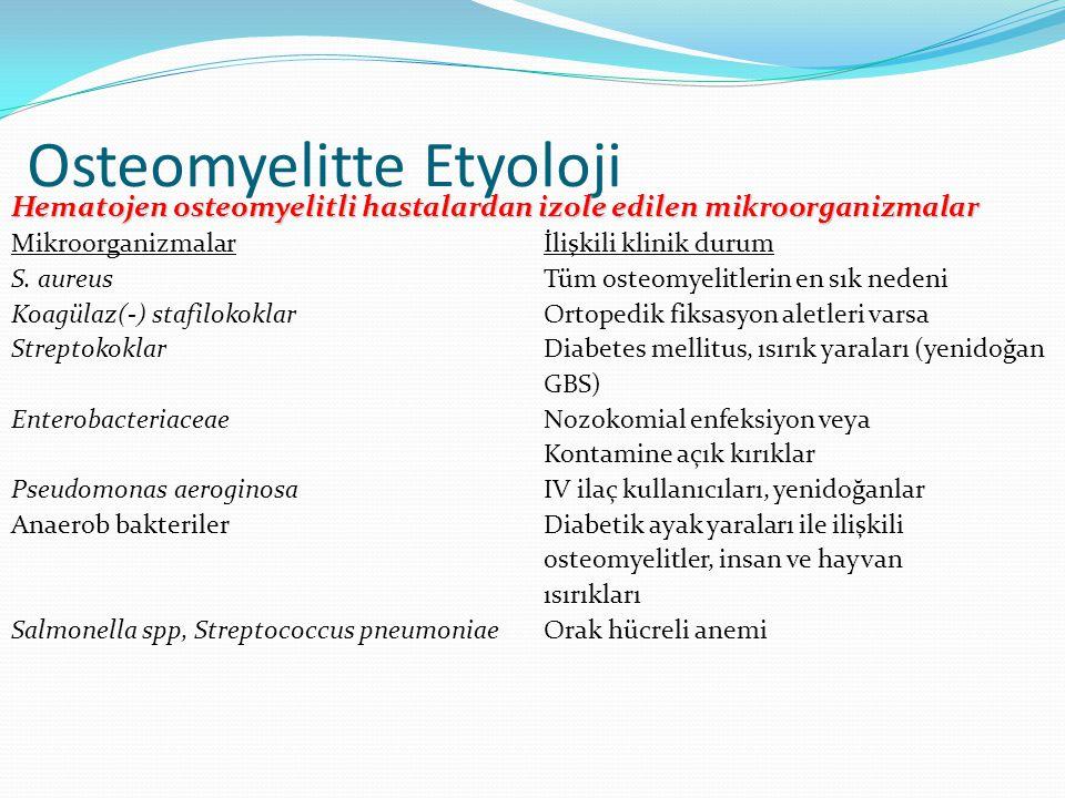 Osteomyelitte Etyoloji Hematojen osteomyelitli hastalardan izole edilen mikroorganizmalar Mikroorganizmalar İlişkili klinik durum S. aureus Tüm osteom