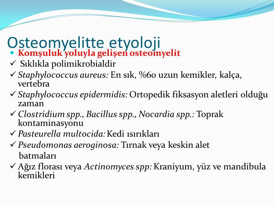 Osteomyelitte etyoloji Komşuluk yoluyla gelişen osteomyelit Sıklıkla polimikrobialdir Staphylococcus aureus: En sık, %60 uzun kemikler, kalça, vertebra Staphylococcus epidermidis: Ortopedik fiksasyon aletleri olduğu zaman Clostridium spp., Bacillus spp., Nocardia spp.: Toprak kontaminasyonu Pasteurella multocida: Kedi ısırıkları Pseudomonas aeroginosa: Tırnak veya keskin alet batmaları Ağız florası veya Actinomyces spp: Kraniyum, yüz ve mandibula kemikleri