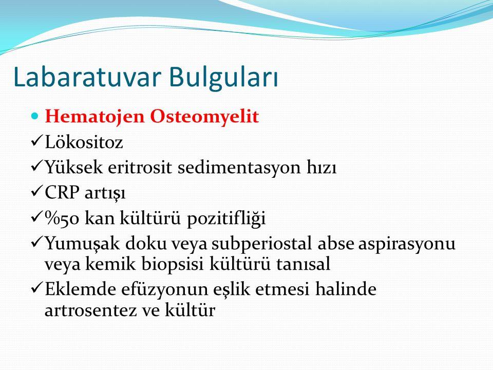 Labaratuvar Bulguları Hematojen Osteomyelit Lökositoz Yüksek eritrosit sedimentasyon hızı CRP artışı %50 kan kültürü pozitifliği Yumuşak doku veya sub