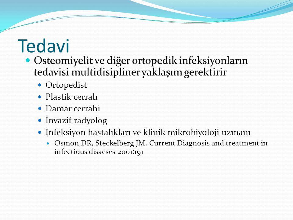 Tedavi Osteomiyelit ve diğer ortopedik infeksiyonların tedavisi multidisipliner yaklaşım gerektirir Ortopedist Plastik cerrah Damar cerrahi İnvazif radyolog İnfeksiyon hastalıkları ve klinik mikrobiyoloji uzmanı Osmon DR, Steckelberg JM.