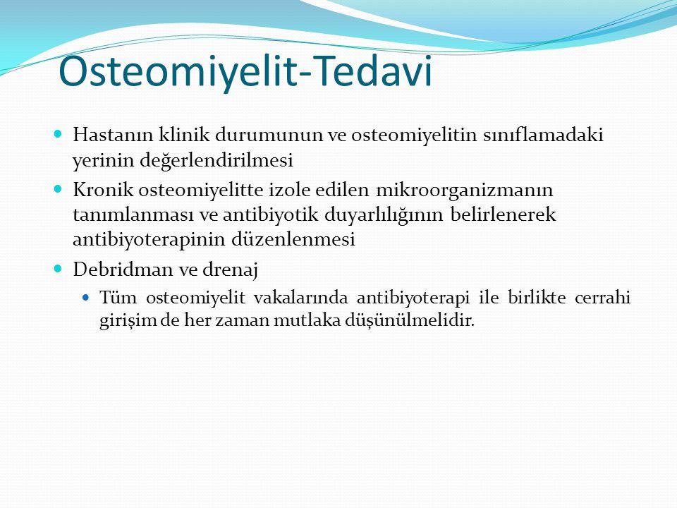 Osteomiyelit-Tedavi Hastanın klinik durumunun ve osteomiyelitin sınıflamadaki yerinin değerlendirilmesi Kronik osteomiyelitte izole edilen mikroorgani