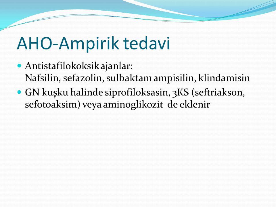 AHO-Ampirik tedavi Antistafilokoksik ajanlar: Nafsilin, sefazolin, sulbaktam ampisilin, klindamisin GN kuşku halinde siprofiloksasin, 3KS (seftriakson, sefotoaksim) veya aminoglikozit de eklenir