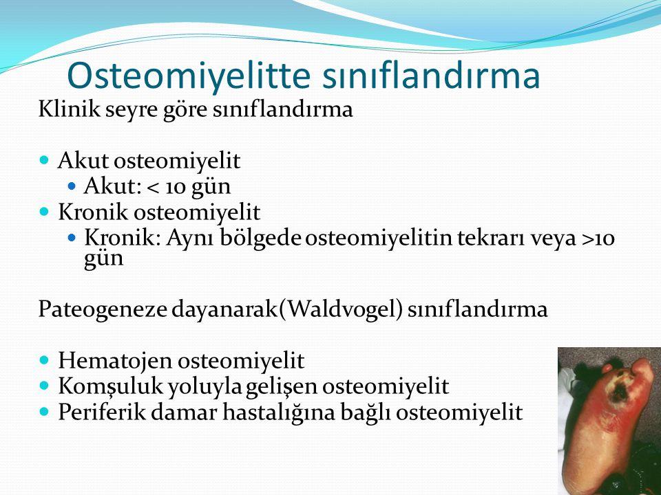 Osteomiyelitte sınıflandırma Klinik seyre göre sınıflandırma Akut osteomiyelit Akut: < 10 gün Kronik osteomiyelit Kronik: Aynı bölgede osteomiyelitin tekrarı veya >10 gün Pateogeneze dayanarak(Waldvogel) sınıflandırma Hematojen osteomiyelit Komşuluk yoluyla gelişen osteomiyelit Periferik damar hastalığına bağlı osteomiyelit