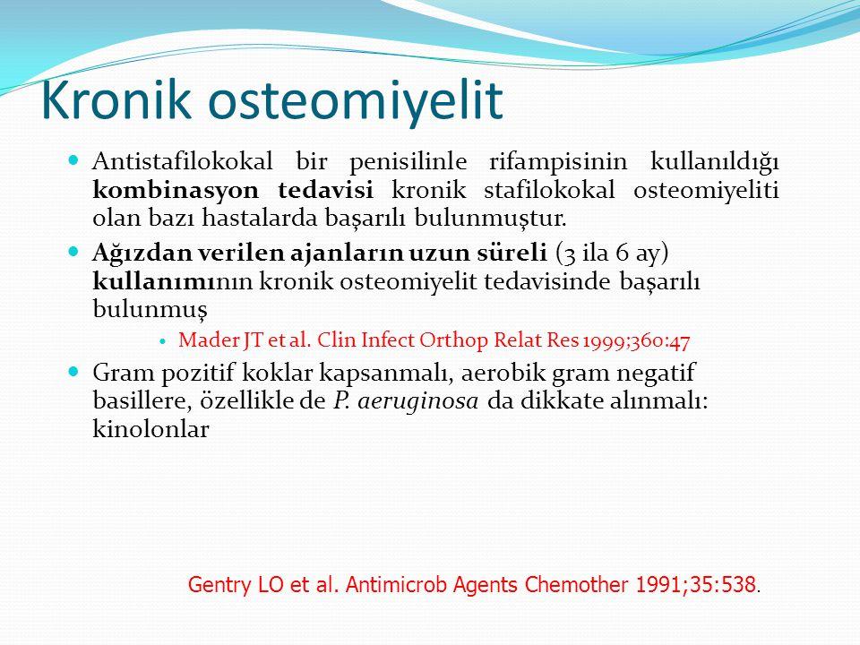 Kronik osteomiyelit Antistafilokokal bir penisilinle rifampisinin kullanıldığı kombinasyon tedavisi kronik stafilokokal osteomiyeliti olan bazı hastalarda başarılı bulunmuştur.