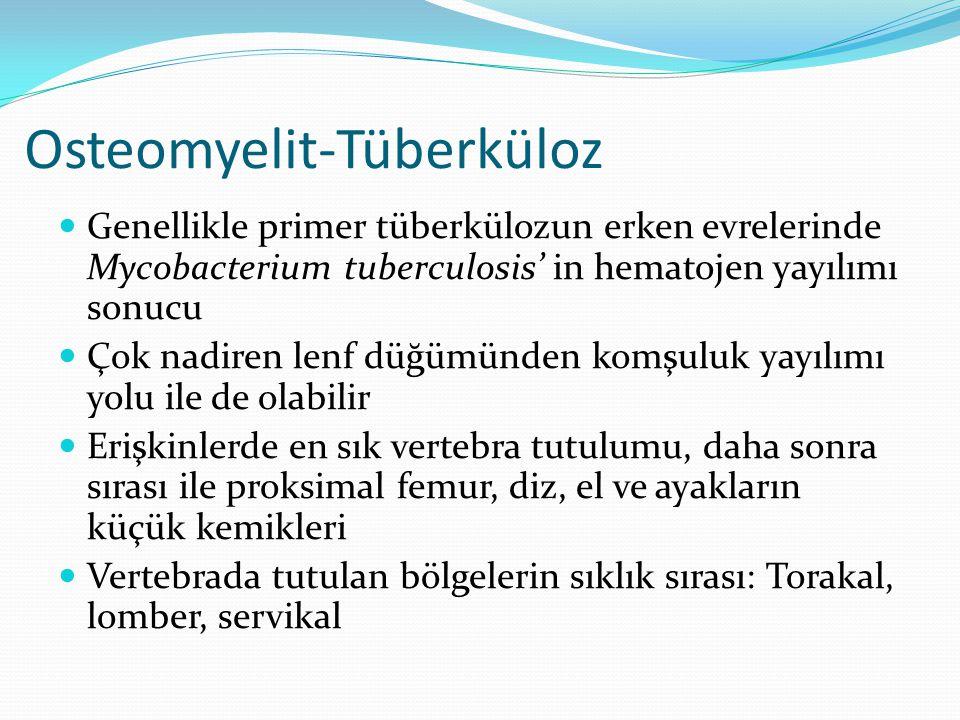 Osteomyelit-Tüberküloz Genellikle primer tüberkülozun erken evrelerinde Mycobacterium tuberculosis' in hematojen yayılımı sonucu Çok nadiren lenf düğü