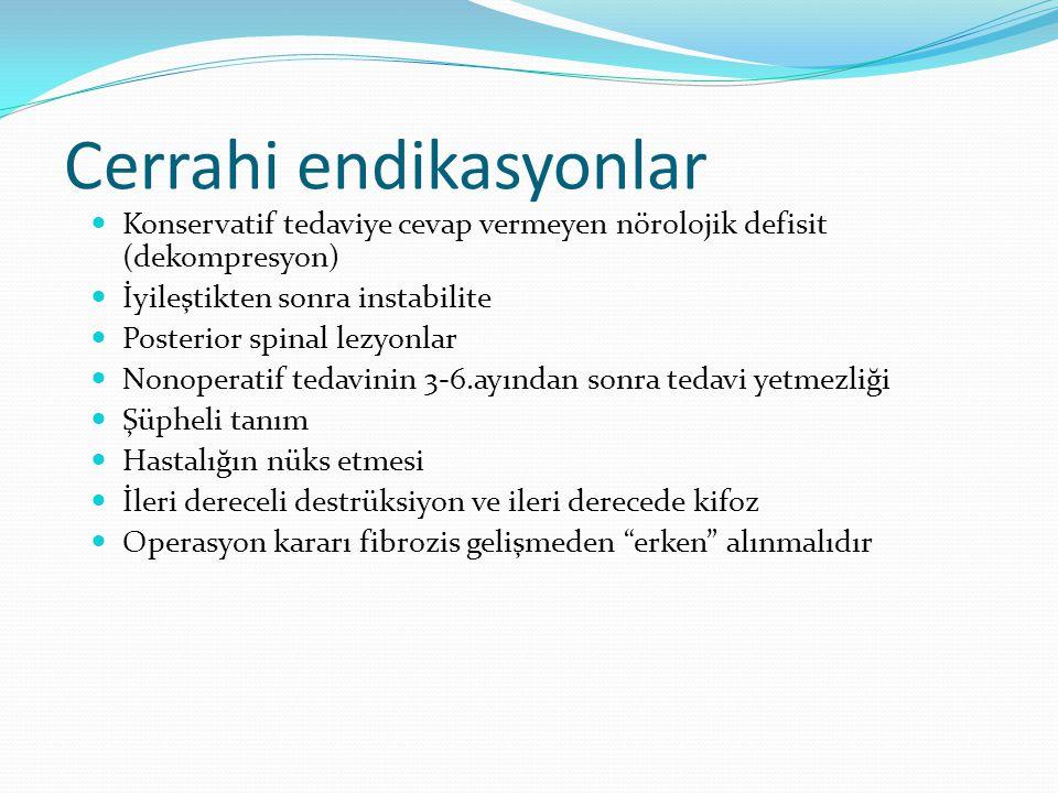 Cerrahi endikasyonlar Konservatif tedaviye cevap vermeyen nörolojik defisit (dekompresyon) İyileştikten sonra instabilite Posterior spinal lezyonlar Nonoperatif tedavinin 3-6.ayından sonra tedavi yetmezliği Şüpheli tanım Hastalığın nüks etmesi İleri dereceli destrüksiyon ve ileri derecede kifoz Operasyon kararı fibrozis gelişmeden erken alınmalıdır