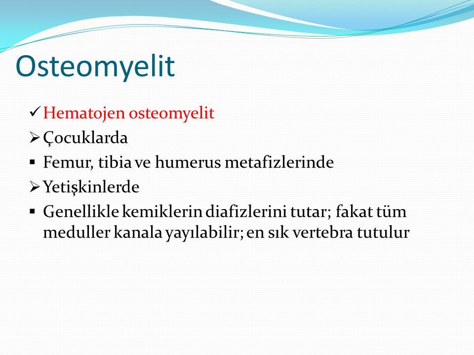 Osteomyelit Hematojen osteomyelit  Çocuklarda  Femur, tibia ve humerus metafizlerinde  Yetişkinlerde  Genellikle kemiklerin diafizlerini tutar; fa