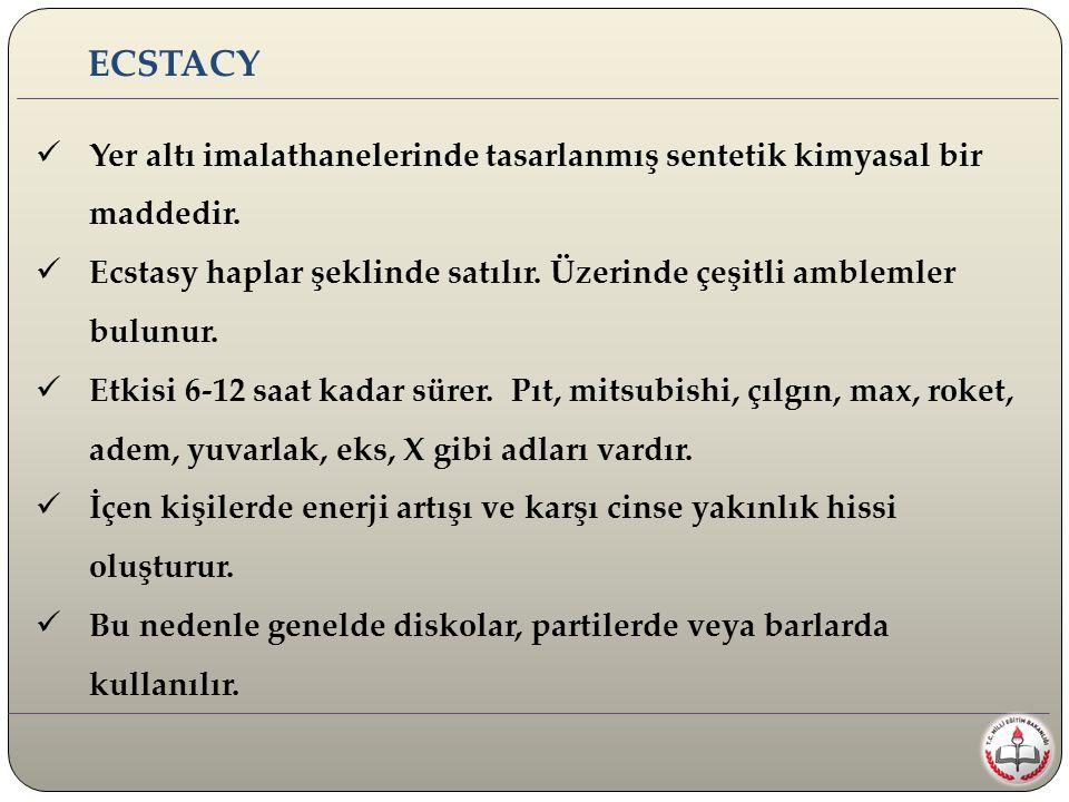 Yer altı imalathanelerinde tasarlanmış sentetik kimyasal bir maddedir. Ecstasy haplar şeklinde satılır. Üzerinde çeşitli amblemler bulunur. Etkisi 6-1