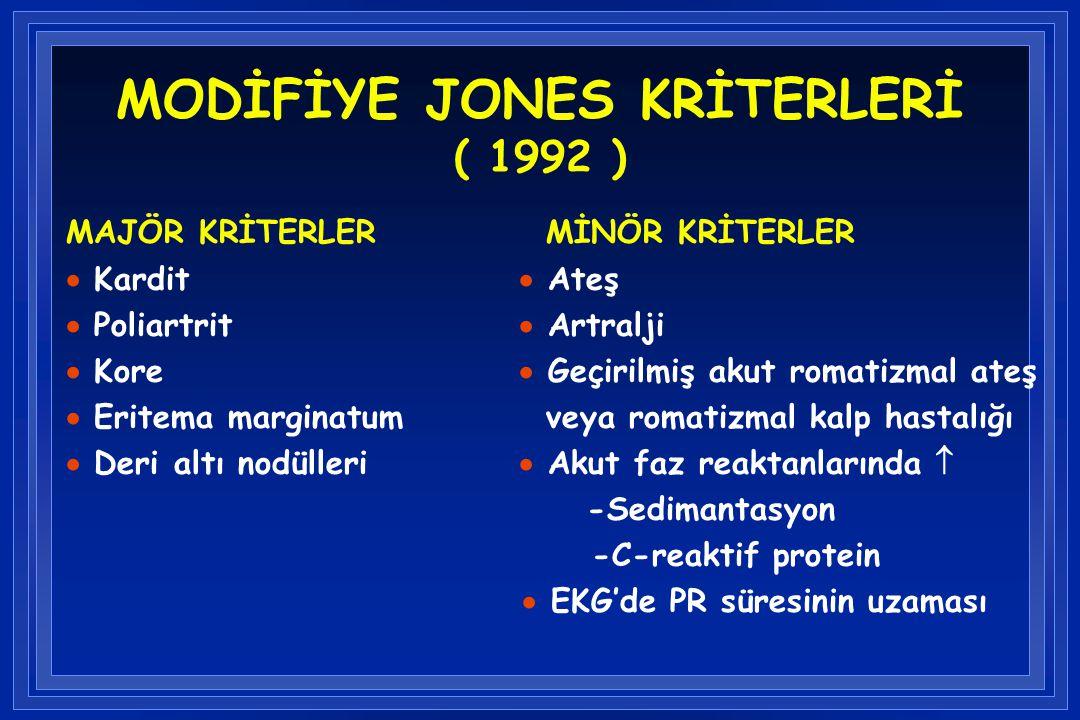 MODİFİYE JONES KRİTERLERİ ( 1992 ) MAJÖR KRİTERLER MİNÖR KRİTERLER  Kardit  Ateş  Poliartrit  Artralji  Kore  Geçirilmiş akut romatizmal ateş 