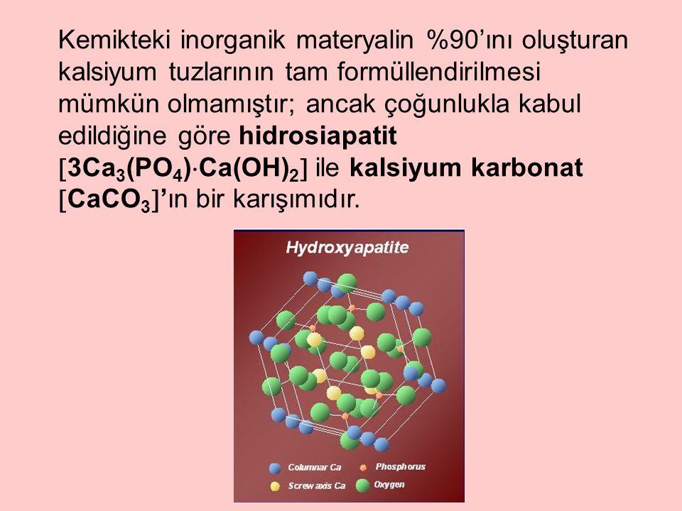Kemikteki inorganik materyalin %90'ını oluşturan kalsiyum tuzlarının tam formüllendirilmesi mümkün olmamıştır; ancak çoğunlukla kabul edildiğine göre hidrosiapatit  3Ca 3 (PO 4 )  Ca(OH) 2  ile kalsiyum karbonat  CaCO 3  'ın bir karışımıdır.
