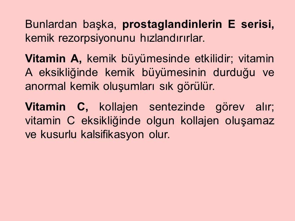 Bunlardan başka, prostaglandinlerin E serisi, kemik rezorpsiyonunu hızlandırırlar.