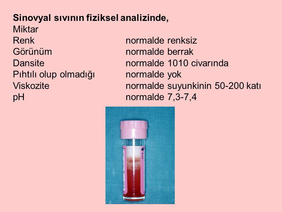 Sinovyal sıvının fiziksel analizinde, Miktar Renk normalde renksiz Görünüm normalde berrak Dansite normalde 1010 civarında Pıhtılı olup olmadığınormalde yok Viskozite normalde suyunkinin 50-200 katı pHnormalde 7,3-7,4