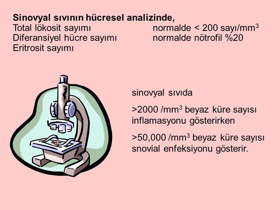 Sinovyal sıvının hücresel analizinde, Total lökosit sayımınormalde < 200 sayı/mm 3 Diferansiyel hücre sayımınormalde nötrofil %20 Eritrosit sayımı sinovyal sıvıda >2000 /mm 3 beyaz küre sayısı inflamasyonu gösterirken >50,000 /mm 3 beyaz küre sayısı snovial enfeksiyonu gösterir.