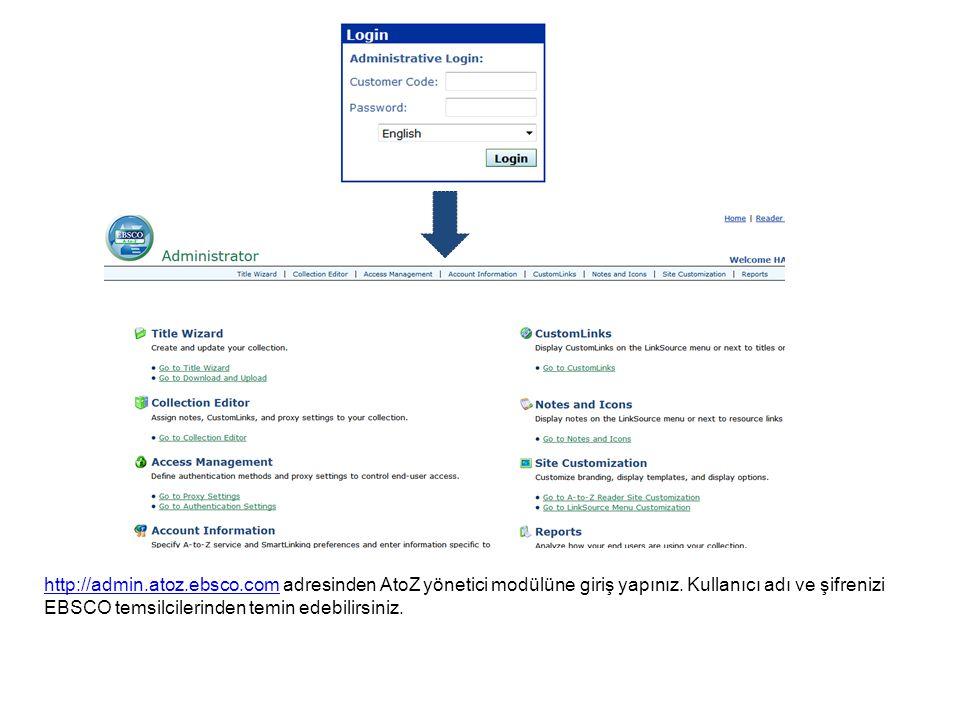 http://admin.atoz.ebsco.comhttp://admin.atoz.ebsco.com adresinden AtoZ yönetici modülüne giriş yapınız. Kullanıcı adı ve şifrenizi EBSCO temsilcilerin