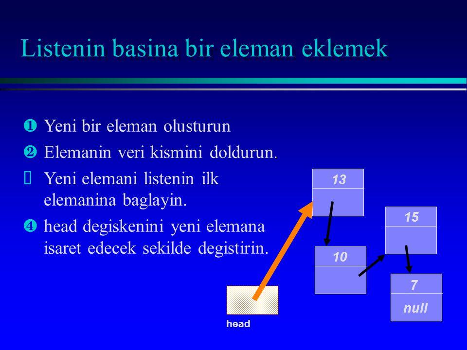 Listenin basina bir eleman eklemek 10 15 7 null head 13 ¶Yeni bir eleman olusturun. ·Elemanin veri kismini doldurun. ŽYeni elemani listenin ilk eleman