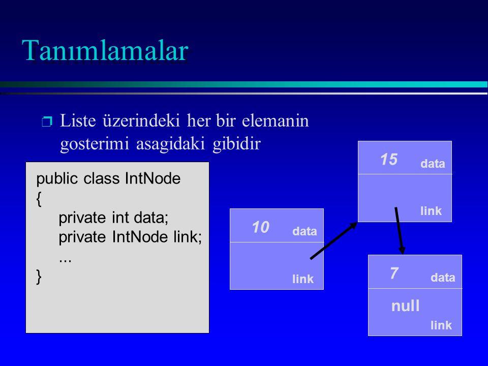 p p Liste üzerindeki her bir elemanin gosterimi asagidaki gibidir data link 10 data link 15 data link 7 null public class IntNode { private int data;