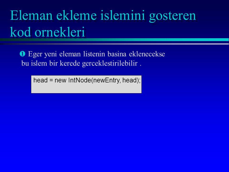 Eleman ekleme islemini gosteren kod ornekleri ¶ ¶Eger yeni eleman listenin basina eklenecekse bu islem bir kerede gerceklestirilebilir. head = new Int