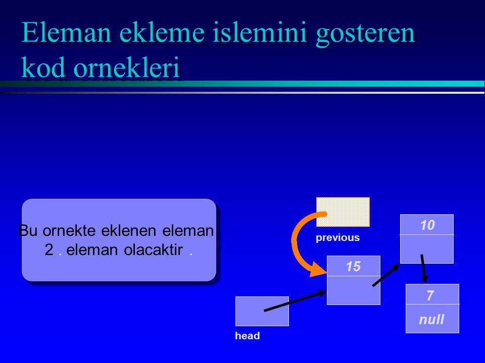 Eleman ekleme islemini gosteren kod ornekleri 15 10 7 null head Bu ornekte eklenen eleman 2. eleman olacaktir. Bu ornekte eklenen eleman 2. eleman ola