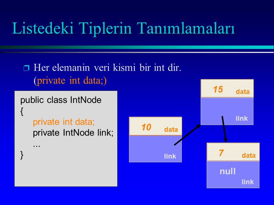 data link 7 p p Her elemanin veri kismi bir int dir. (private int data;) link null public class IntNode { private int data; private IntNode link;... }