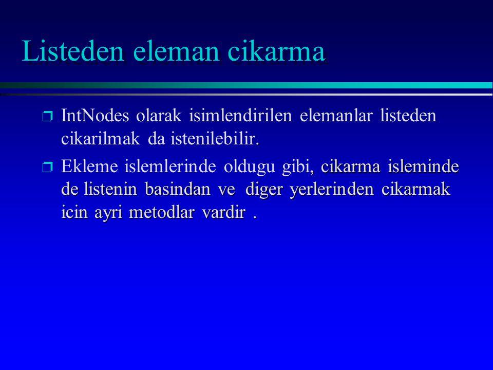 Listeden eleman cikarma p. p IntNodes olarak isimlendirilen elemanlar listeden cikarilmak da istenilebilir. p, cikarma isleminde de listenin basindan
