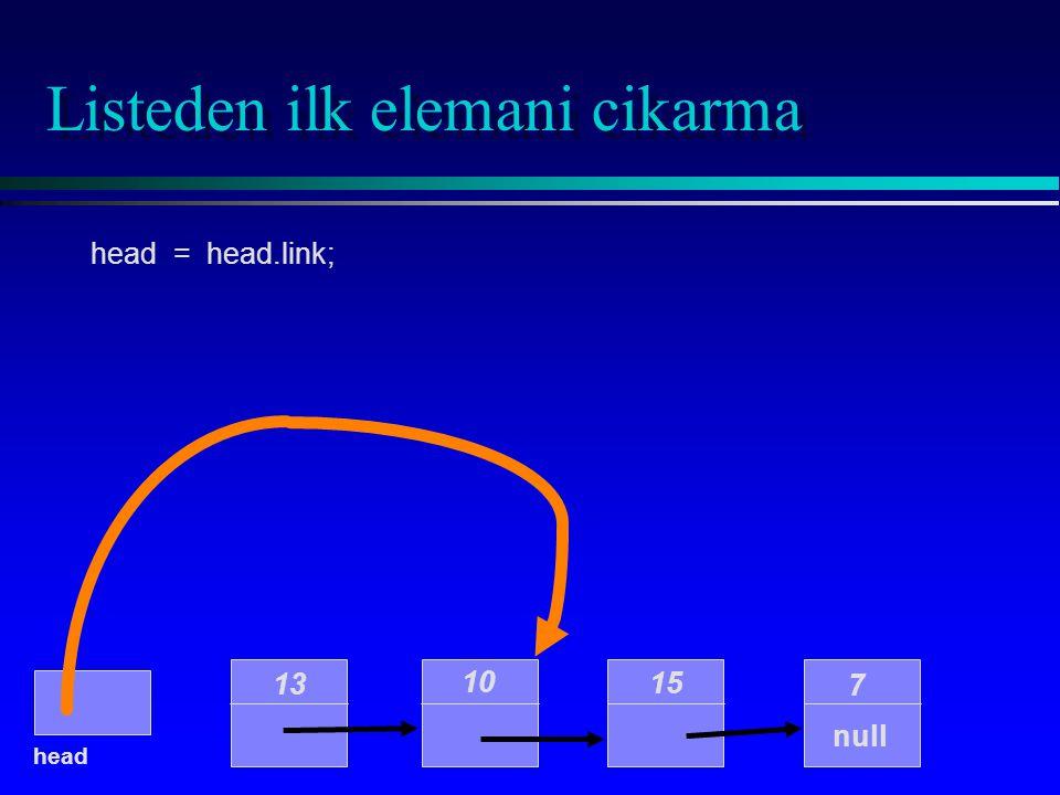 Listeden ilk elemani cikarma 10 15 7 null head 13 head = head.link;