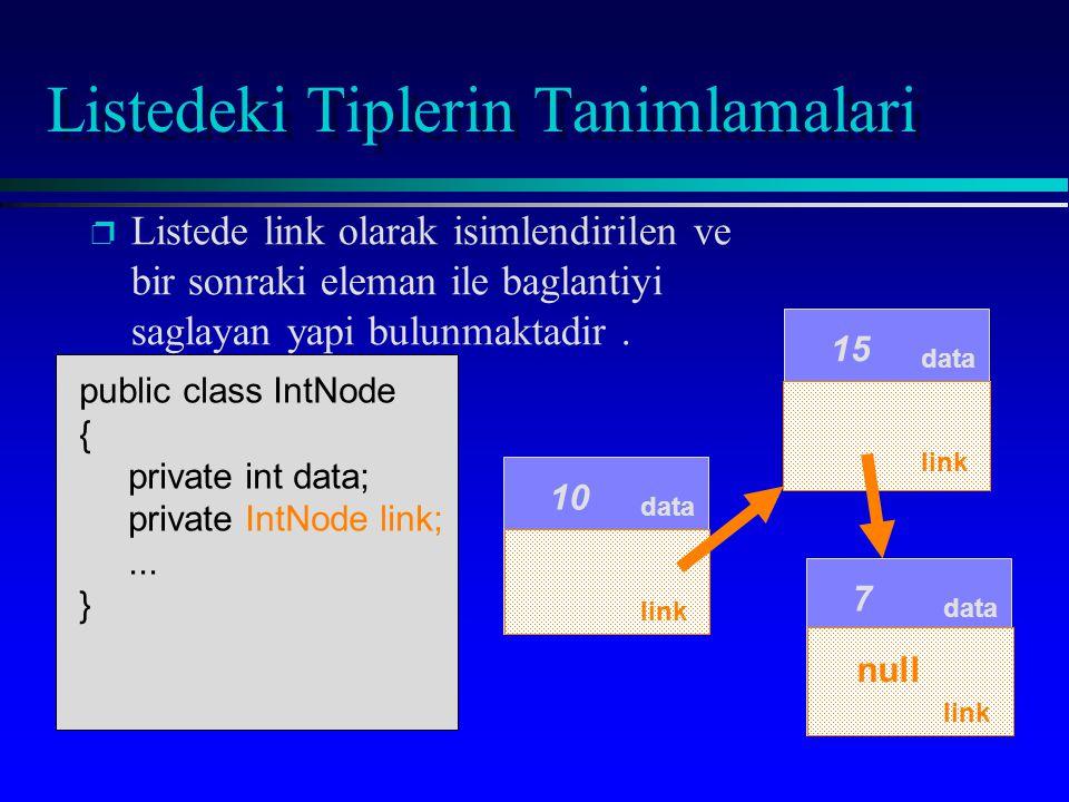 p p Listede link olarak isimlendirilen ve bir sonraki eleman ile baglantiyi saglayan yapi bulunmaktadir. data 15 data 7 public class IntNode { private