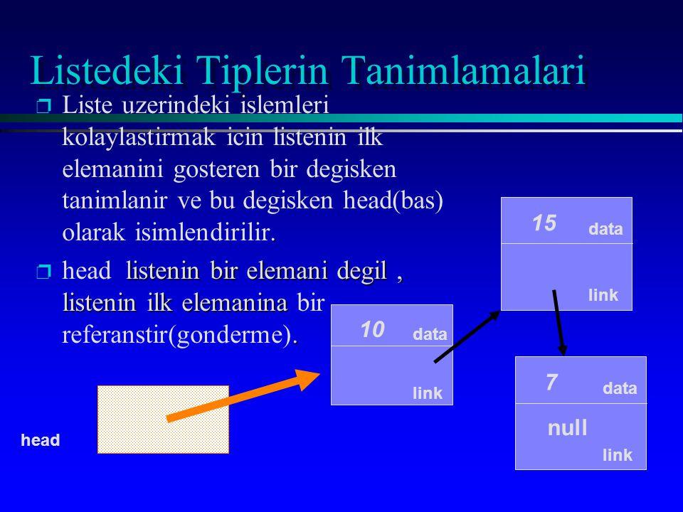 public IntNode(int initialData, IntNode initialLink) { data = initialEntry; link = initialLink; } Listenin basina bir eleman eklemek head null head = new IntNode(13, head); 13 null