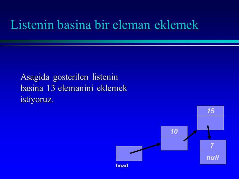 public IntNode(int initialData, IntNode initialLink) { data = initialEntry; link = initialLink; } Listenin basina bir eleman eklemek head 13 null Islem gerceklestirilidiginde liste 13 degerini iceren yeni bir elemana sahip olacaktir head = new IntNode(13, head);