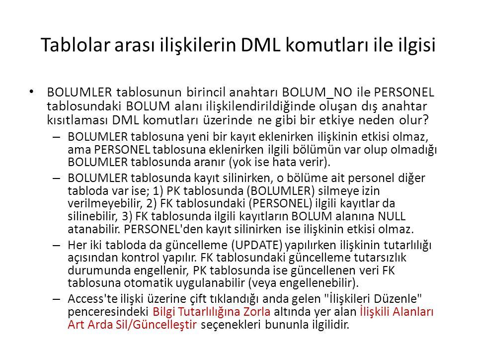 Tablolar arası ilişkilerin DML komutları ile ilgisi BOLUMLER tablosunun birincil anahtarı BOLUM_NO ile PERSONEL tablosundaki BOLUM alanı ilişkilendirildiğinde oluşan dış anahtar kısıtlaması DML komutları üzerinde ne gibi bir etkiye neden olur.