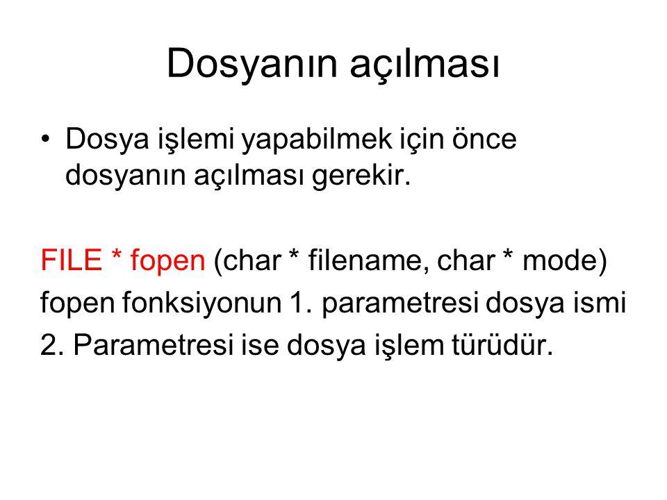 Dosyanın açılması Dosya işlemi yapabilmek için önce dosyanın açılması gerekir. FILE * fopen (char * filename, char * mode) fopen fonksiyonun 1. parame