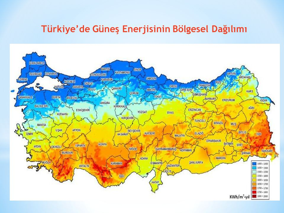 Türkiye'de Güneş Enerjisinin Bölgesel Dağılımı