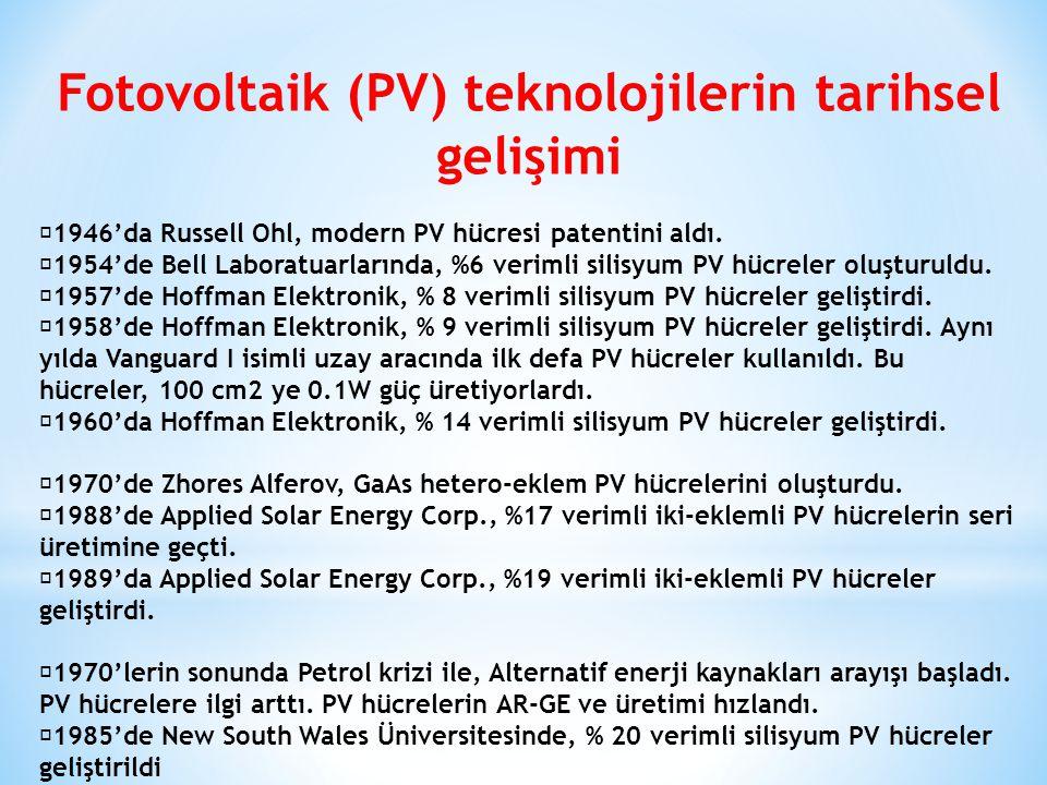 Fotovoltaik (PV) teknolojilerin tarihsel gelişimi 1946'da Russell Ohl, modern PV hücresi patentini aldı. 1954'de Bell Laboratuarlarında, %6 verimli si