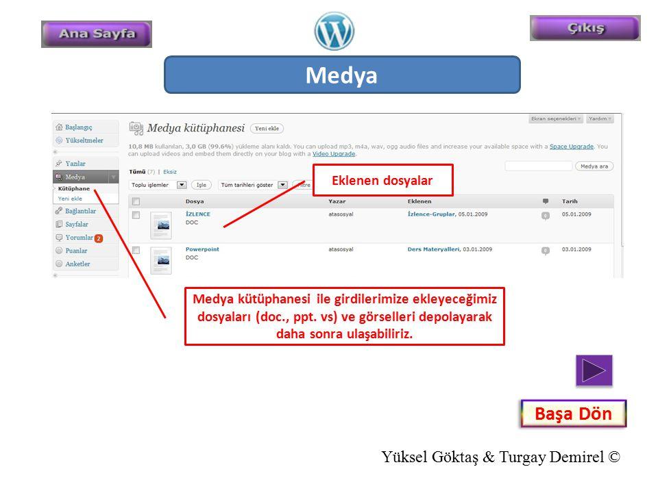 Medya Medya kütüphanesi ile girdilerimize ekleyeceğimiz dosyaları (doc., ppt. vs) ve görselleri depolayarak daha sonra ulaşabiliriz. Eklenen dosyalar