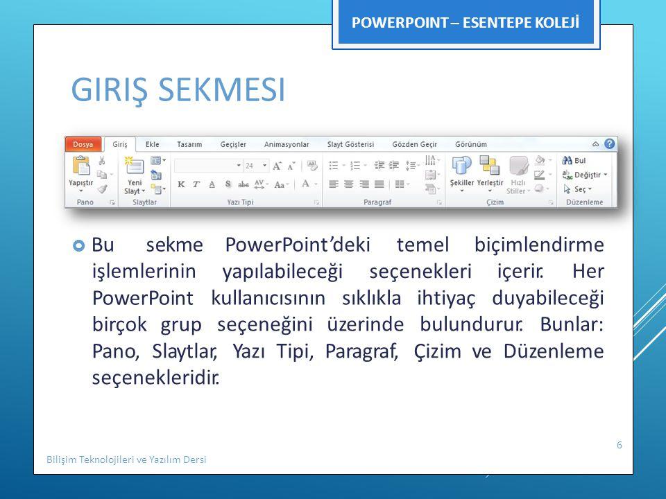 GIRIŞ SEKMESI  Bu sekme işlemlerinin PowerPoint birçok grup PowerPoint'dekitemelbiçimlendirme içerir.Her yapılabileceğiseçenekleri kullanıcısınınsıkl