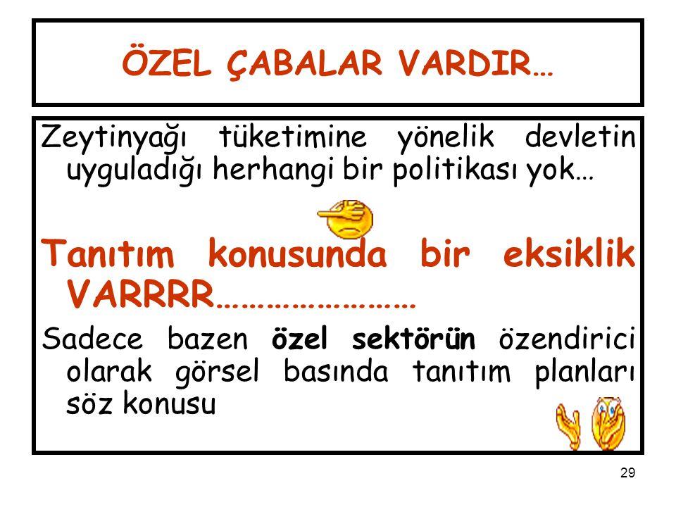 29 ÖZEL ÇABALAR VARDIR… Zeytinyağı tüketimine yönelik devletin uyguladığı herhangi bir politikası yok… Tanıtım konusunda bir eksiklik VARRRR…………………… S
