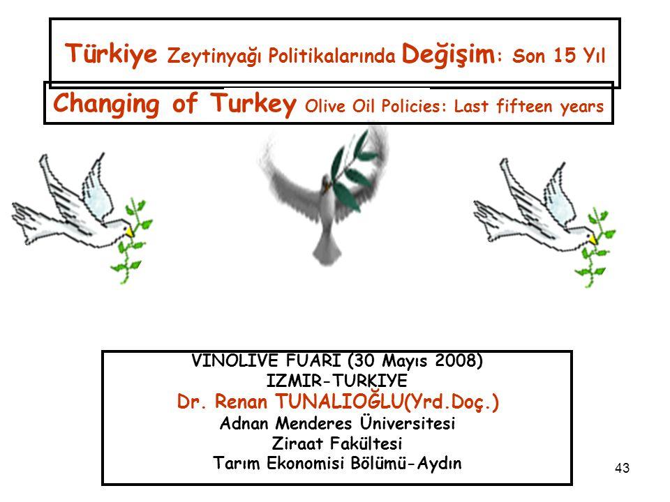 43 Türkiye Zeytinyağı Politikalarında Değişim : Son 15 Yıl VINOLIVE FUARI (30 Mayıs 2008) IZMIR-TURKIYE Dr. Renan TUNALIOĞLU(Yrd.Doç.) Adnan Menderes