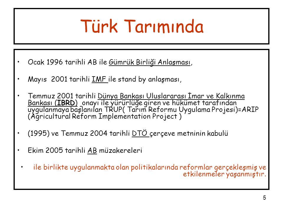 5 Türk Tarımında Ocak 1996 tarihli AB ile Gümrük Birliği Anlaşması, Mayıs 2001 tarihli IMF ile stand by anlaşması, Temmuz 2001 tarihli Dünya Bankası U