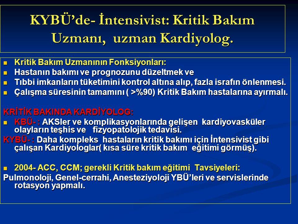 KYBÜ'de- İntensivist: Kritik Bakım Uzmanı, uzman Kardiyolog. Kritik Bakım Uzmanının Fonksiyonları: Kritik Bakım Uzmanının Fonksiyonları: Hastanın bakı