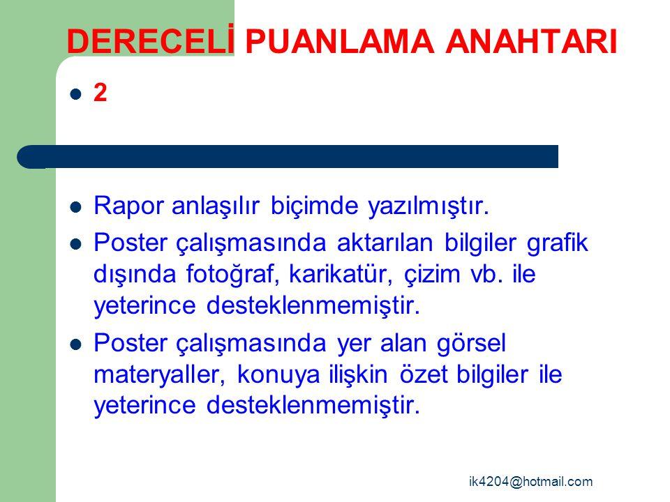ik4204@hotmail.com DERECELİ PUANLAMA ANAHTARI 2 Rapor anlaşılır biçimde yazılmıştır. Poster çalışmasında aktarılan bilgiler grafik dışında fotoğraf, k
