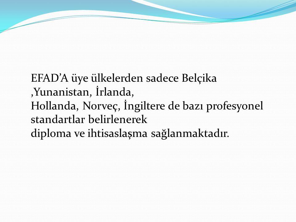 EFAD'A üye ülkelerden sadece Belçika,Yunanistan, İrlanda, Hollanda, Norveç, İngiltere de bazı profesyonel standartlar belirlenerek diploma ve ihtisasl
