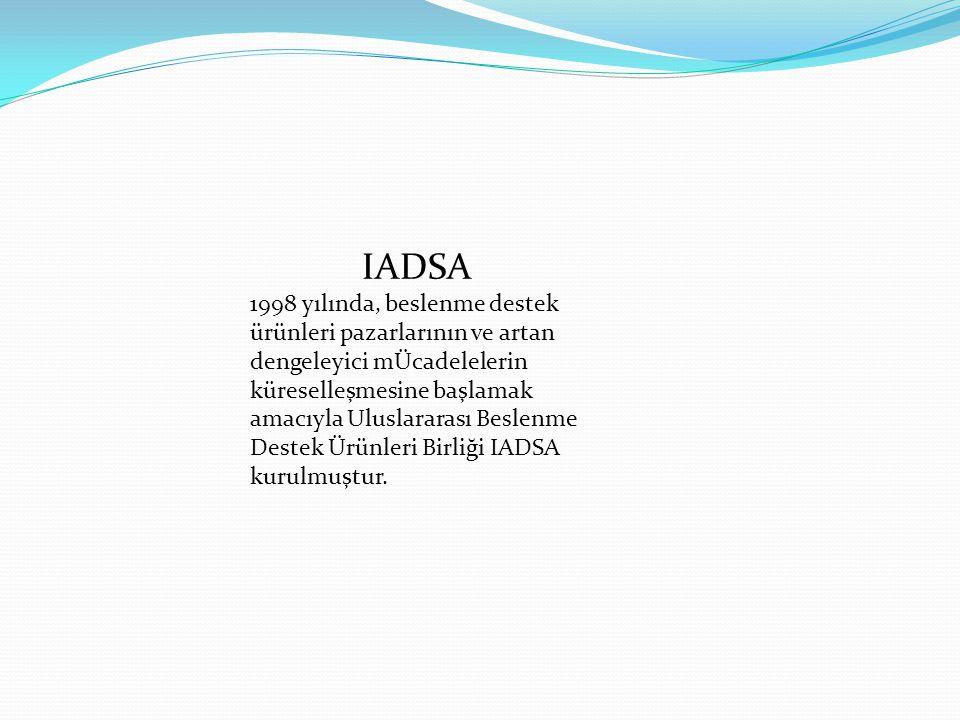 IADSA 1998 yılında, beslenme destek ürünleri pazarlarının ve artan dengeleyici mÜcadelelerin küreselleşmesine başlamak amacıyla Uluslararası Beslenme