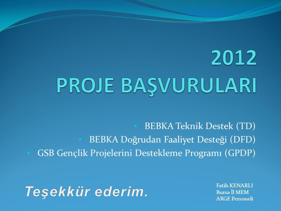 BEBKA Teknik Destek (TD) BEBKA Doğrudan Faaliyet Desteği (DFD) GSB Gençlik Projelerini Destekleme Programı (GPDP) Fatih KENARLI Bursa İl MEM ARGE Personeli