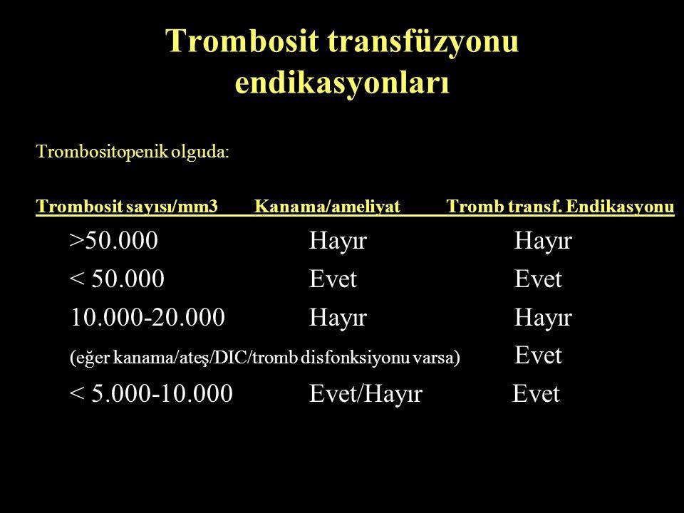 Trombosit transfüzyonu endikasyonları Trombositopenik olguda: Trombosit sayısı/mm3 Kanama/ameliyatTromb transf. Endikasyonu >50.000 Hayır Hayır < 50.0