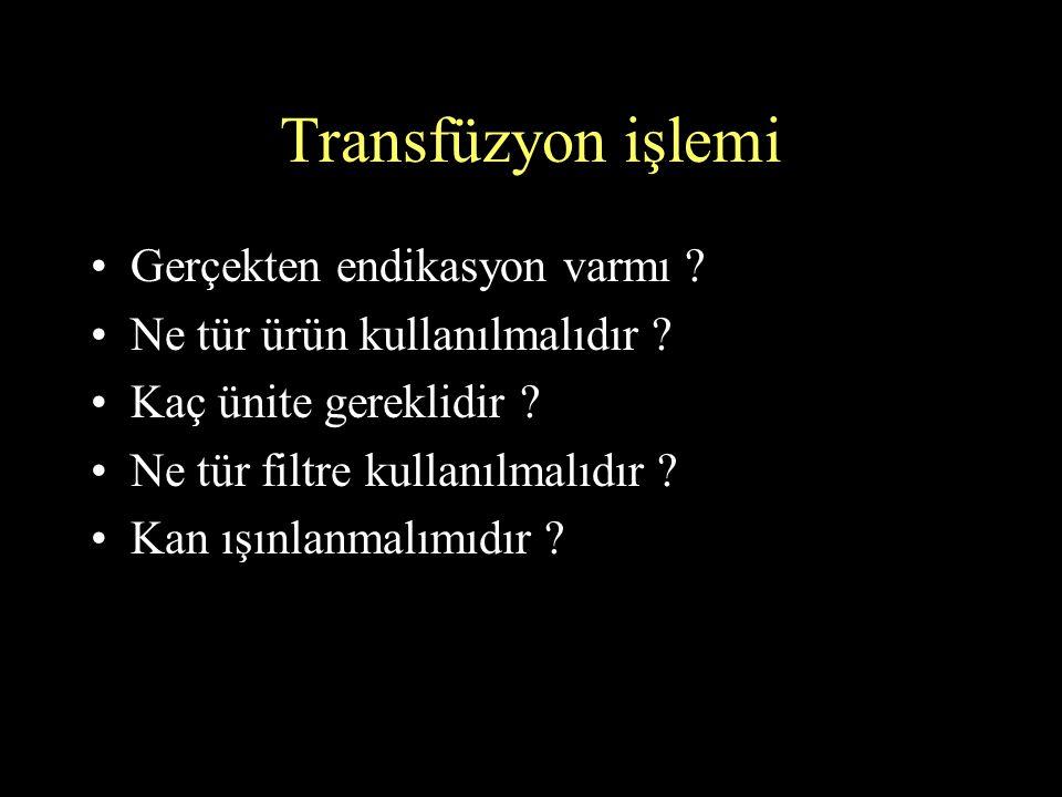 Transfüzyon işlemi Gerçekten endikasyon varmı ? Ne tür ürün kullanılmalıdır ? Kaç ünite gereklidir ? Ne tür filtre kullanılmalıdır ? Kan ışınlanmalımı