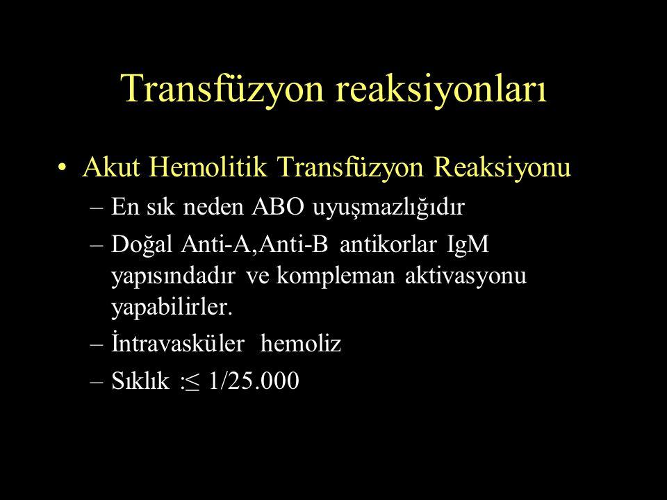 Transfüzyon reaksiyonları Akut Hemolitik Transfüzyon Reaksiyonu –En sık neden ABO uyuşmazlığıdır –Doğal Anti-A,Anti-B antikorlar IgM yapısındadır ve k